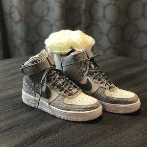 Grey Nike Hi Top Air Force Ones